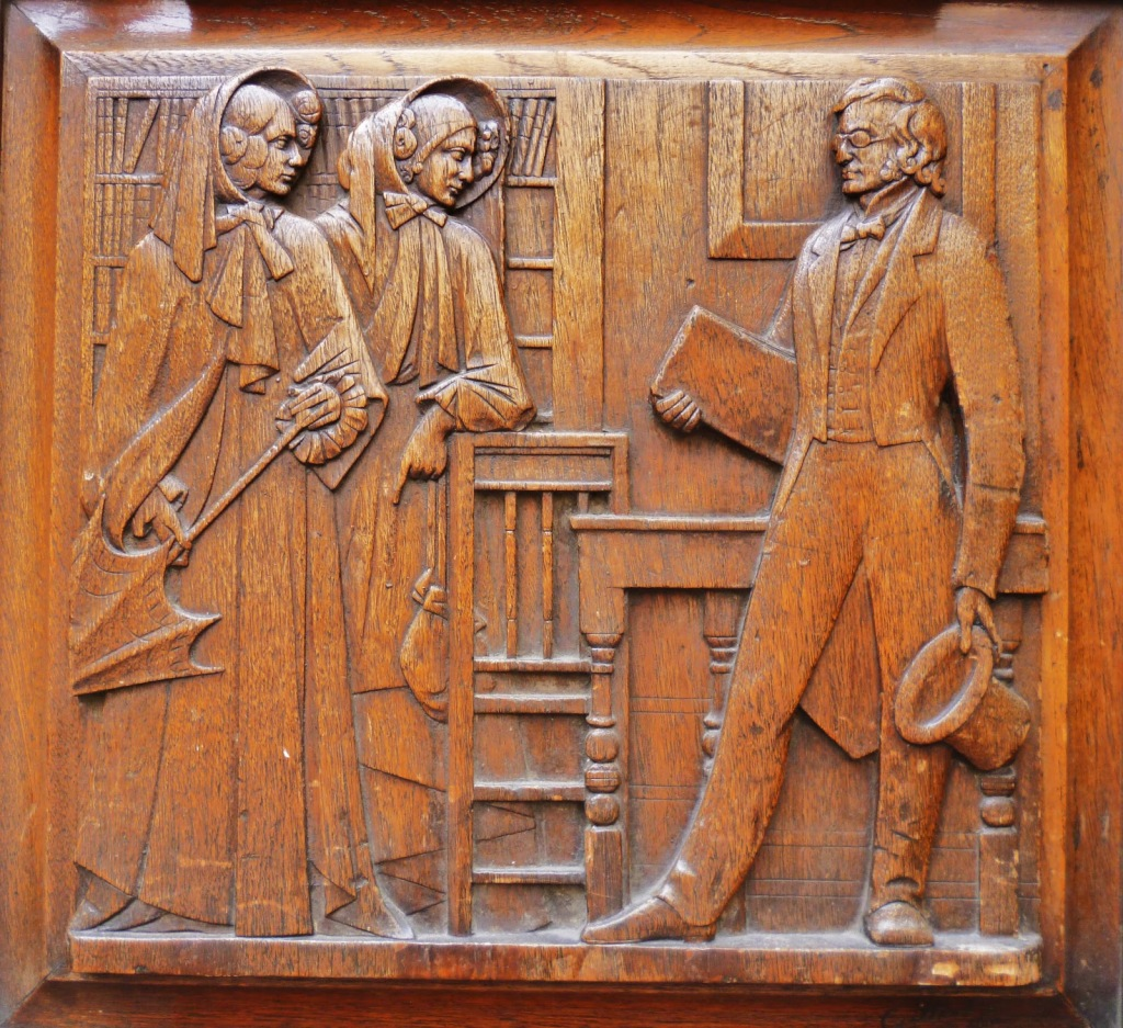 The Brontës meet Thackeray at the offices of Smith and Elder: one of 8 wooden door panels at 3, Cornhill, London. Pic via http://tonyshaw3.blogspot.co.uk