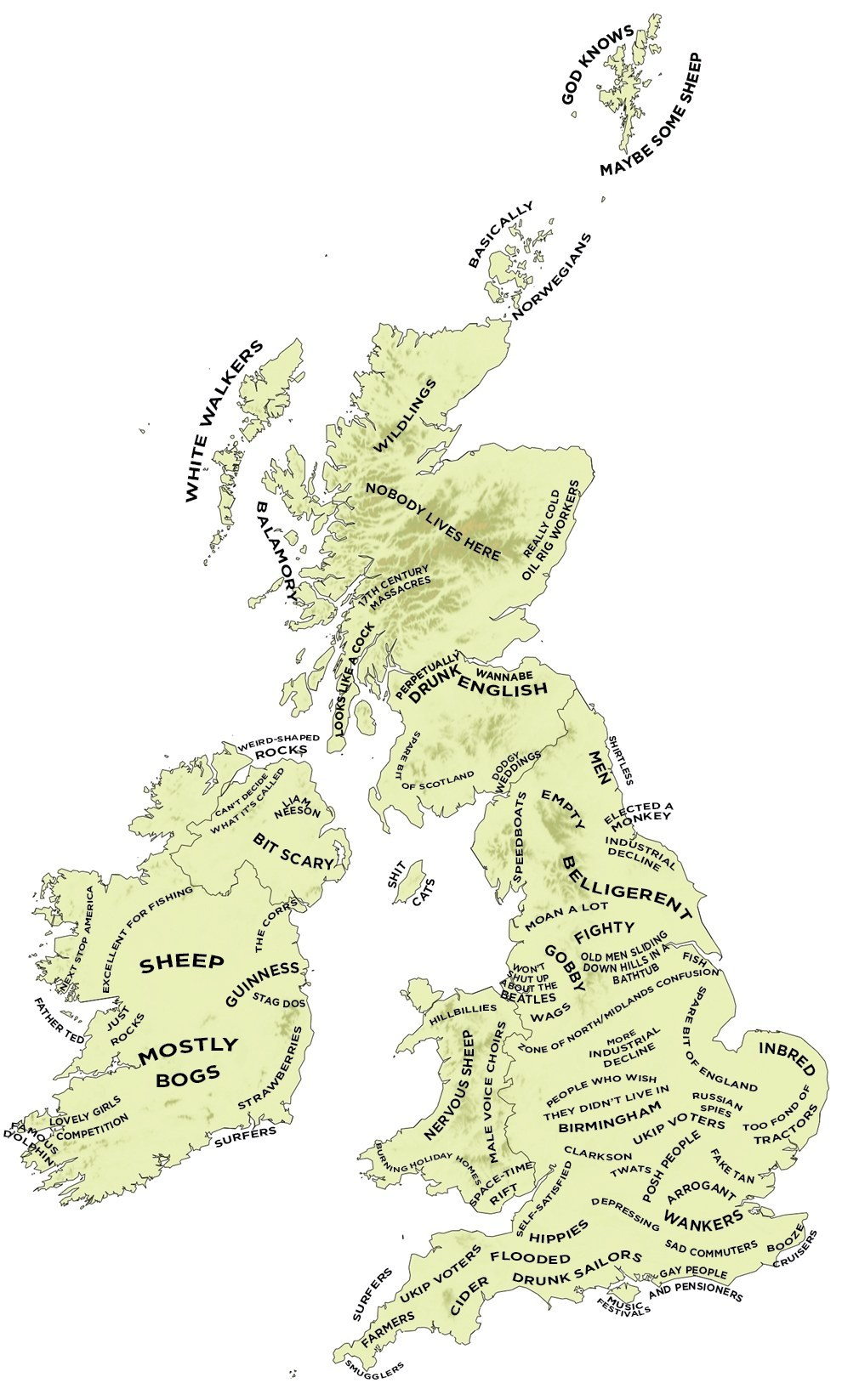 "With thanks to Tom Phillips - find his site here"" http://www.buzzfeed.com/tomphillips/the-definitive-stereotype-map-of-britain-and-ireland - and Michael Carnell, who passed this on to me! he's at http://www.michaelcarnell.com"