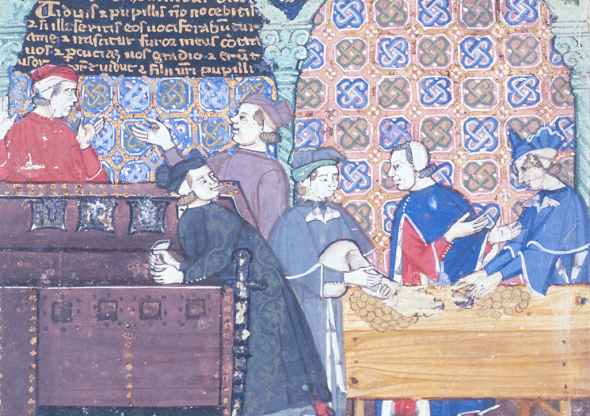 Description:Detail from a miniature with scenes of banking and usury: of a man taking money from a chest, pictured inside the Banco di San Giorgio, Genoa.  Origin:Italy, N. W. (Genoa)  From the British Library